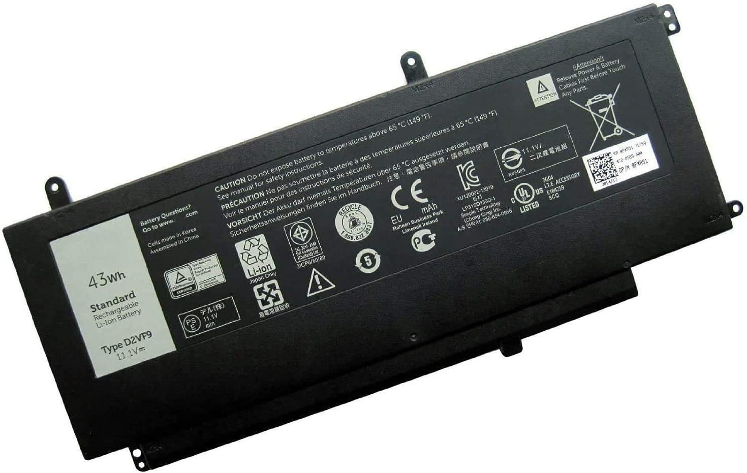 Batterymarket D2VF9 Laptop Battery Replacement for MSI GS63 GS63VR GS73 GS73VR 6RF Stealth Pro 6RF-001US BP-16K1-31 BTY-U6J Series (11.4V 64.98Wh)