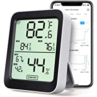 Indoor Thermometer Hygrometer, Accurate Bluetooth Temperature Humidity Sensor with Large LCD Display, Notification Alert…