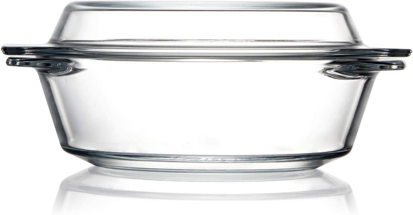 Clear Round Glass Casserole With Lid Glass Bakeware Easy Grab Baking Dish,Microwave, Oven, Freezer, and Dishwasher Safe (0.65L)