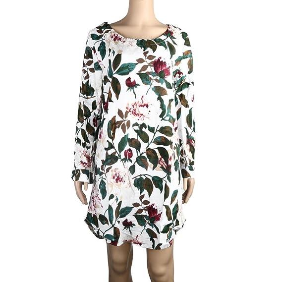 Overdose Manga Larga De Las Mujeres Solid O-Collar Floral Print Mini Summer Summer Cotton Linen Vestido De Fiesta MáS El TamañO: Amazon.es: Ropa y ...