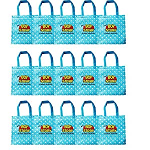 15 Pack Toy Story Gift Bags, Non-woven Party Favor Bags Its a Boy Story Double Sided Printed Gift Packs for 1st 2nd 3rd 6th Birthday Party Supplies