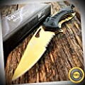 8'' M-TECH GOLD Rescue SPRING ASSISTED OPEN Folding Pocket Knife. - Outdoor For Camping Hunting Cosplay