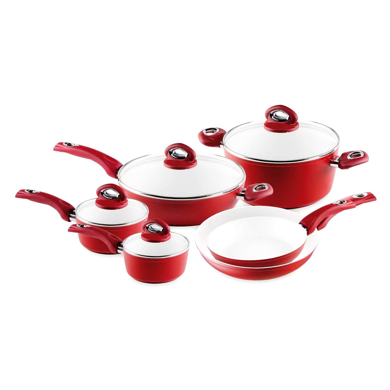 Cookware Set. Best 10 Piece Pots and Pans Non Stick Ceramic Cooking Frying Kit With Glass Lids. Saucepan, Deep Sauté, Dutch Oven, Saute Pan. Red
