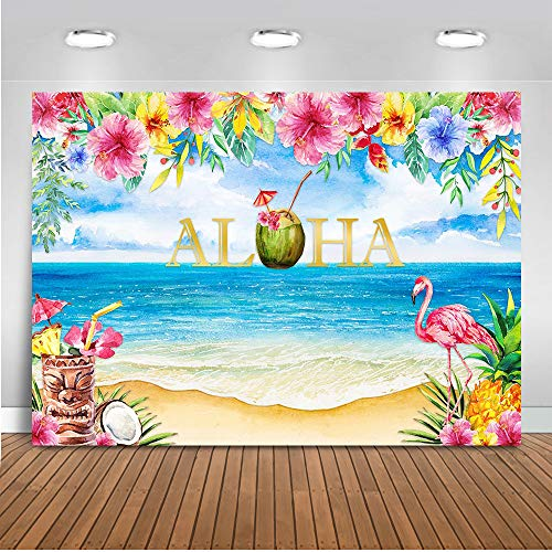 Mocsicka Aloha Tiki Party Backdrop Hawaii Flamingo Photography Background 7x5ft Vinyl Tropical Beach Luau Birthday Party Backdrops -
