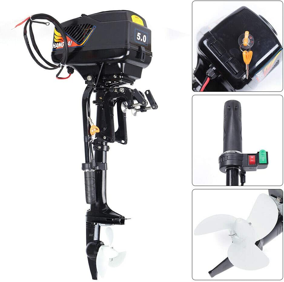 LOYALHEARTDY19 Hangkai 48V 1200W Electric Outboard Motor 5 Hp, Short Shaft Electric Outboard Trolling Motor Fishing Boat Engine Rubber Propeller USA Advanced Heavy Duty