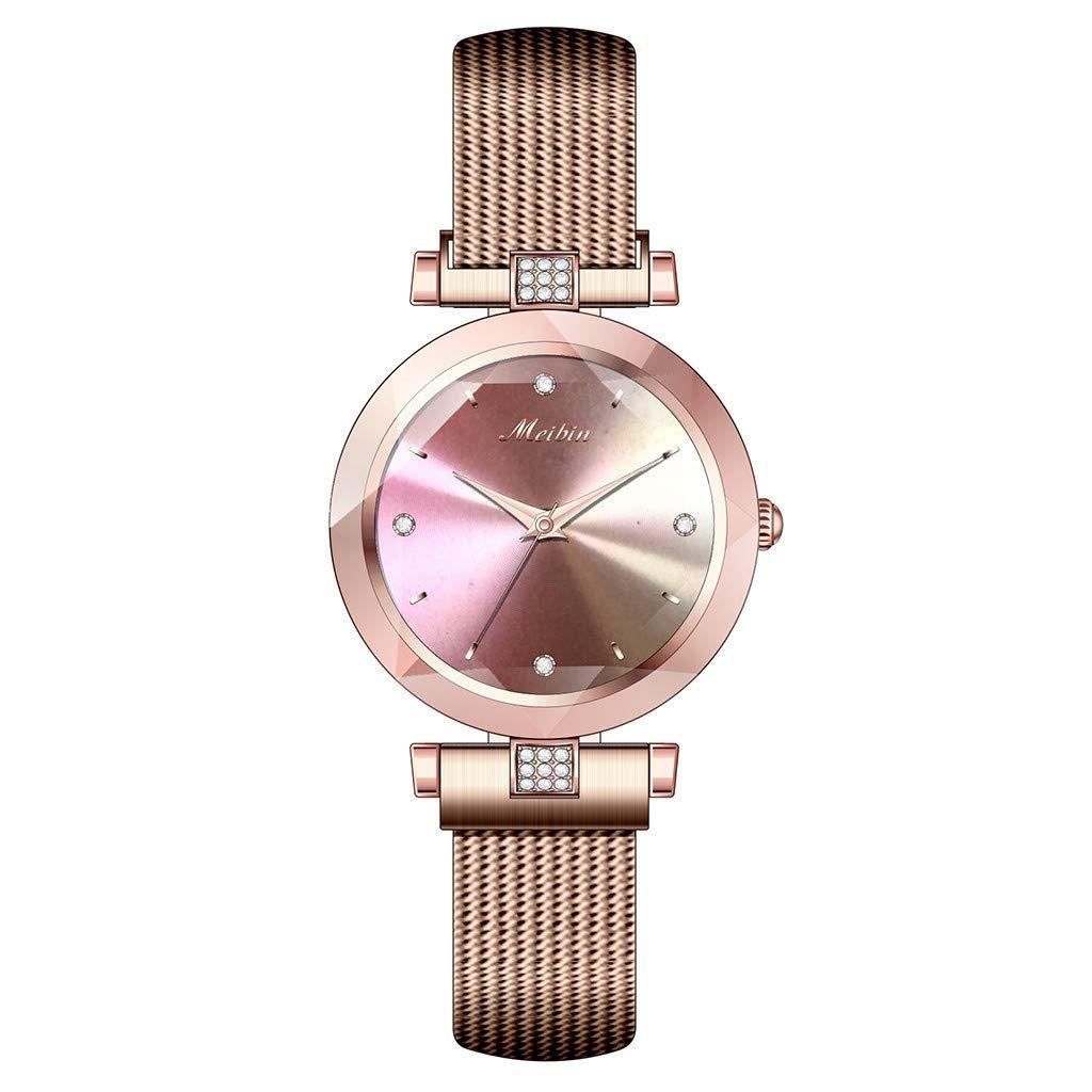 CreazyBee Meibin Diamond Geometric Polygon Dial Magnetic Belt Ladies Watch (Red) by CreazyBee