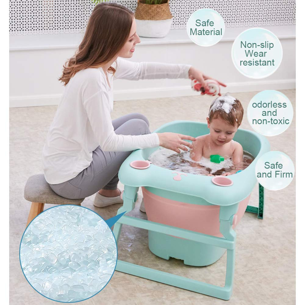 Folding Infant Bathtub Portable Collapsible Newborn Toddler Bath Support for 1-5 Years BEWAVE Baby Bath Tub
