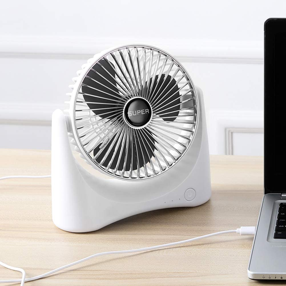 Uonlytech Portable air Circulation Fan USB Charging Small Table Desk Fan Indoor Outdoor for Home Office Silver