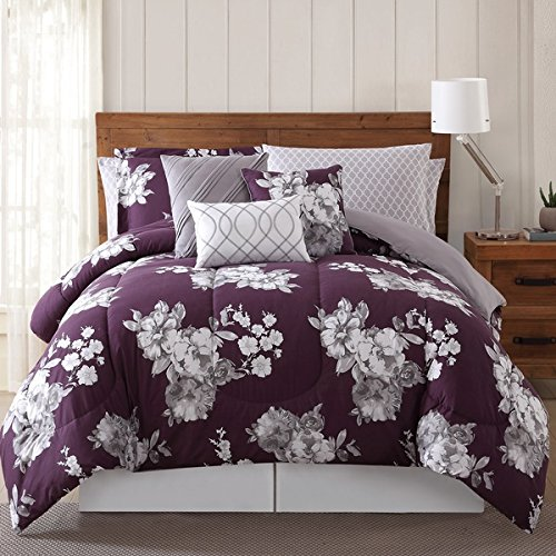 12 Piece Peony Garden Floral Theme Comforter Queen, For Master Bedroom, All Over Gorgeous Large Flower Pattern, Pretty Elegant Deep Purple Background, Transitional Style, Abstract Grey Purple, Vibrant (Garden Peonies)
