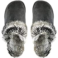 Santimon House Slippers Men Women Winter Mules Indoor Outdoor Anti-Skid Faux Fur Lined Fluffy Shoes