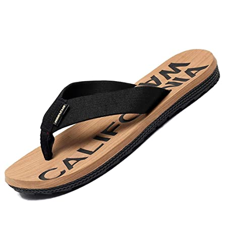966f2383c QAR Slippers Summer Non-slip Casual Fashion Men s Sandals Printed Beach  Shoes Outdoor Slippers flip flop (Color   Beige