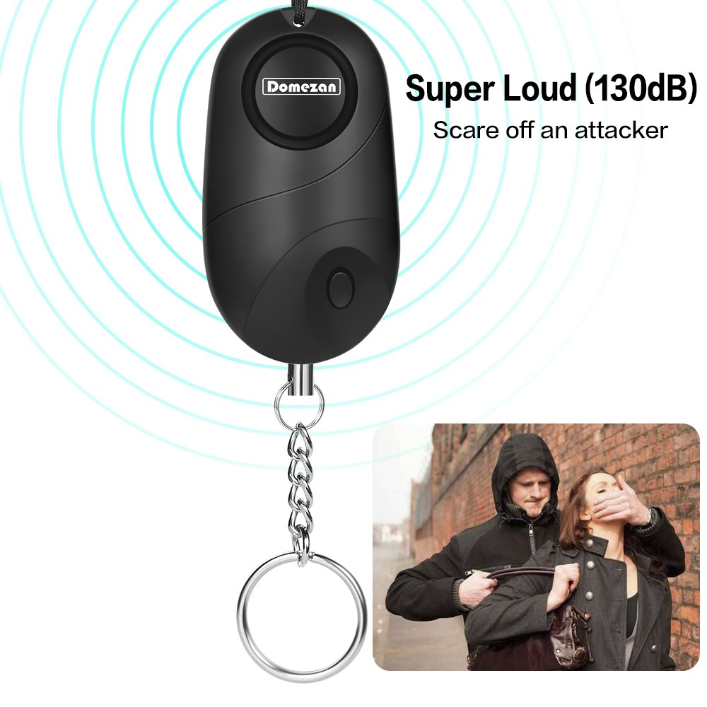 DOMEZAN Personal Alarm 130dB Emergency Self Defense Security Alarm Keychain Kids Women Elderly Protection Batteries Included LED Light Policeman Recommend