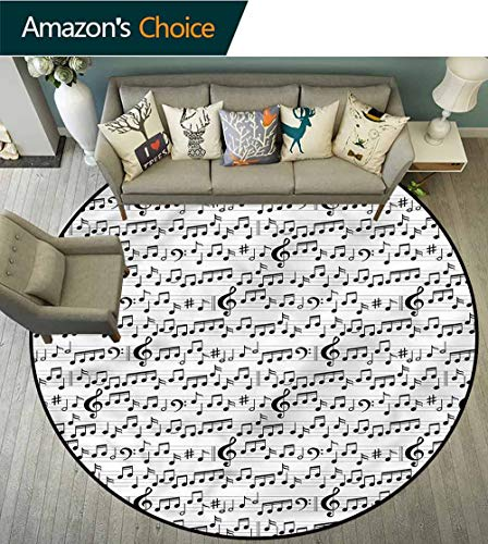 RUGSMAT Music Super Soft Circle Rugs for Girls,Abstract Icons Clef Sheet Bedroom Home Shaggy Carpet Round-31