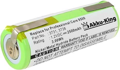 Akku King Akku 49 x 17mm ersetzt Oral B 3731, 3738, HR 3U NI MH 2500mAh für Triumph 4000, 5000, 9000, 9500, 9900, Professional Care 8000, 8300