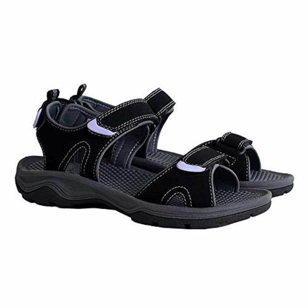 Khombu Ladies' River Sandals for Women - Walking Hiking Casual Summer Shoes (8, Black)