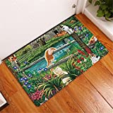 600mm fan - CarPet Smiry Anti- Slip Entrance Floor Mats Cute Cartoon Funny Cat Scenery Kitchen Rug Decoration Stair Light Thin Crafts Rugs 4 400mm x 600mm