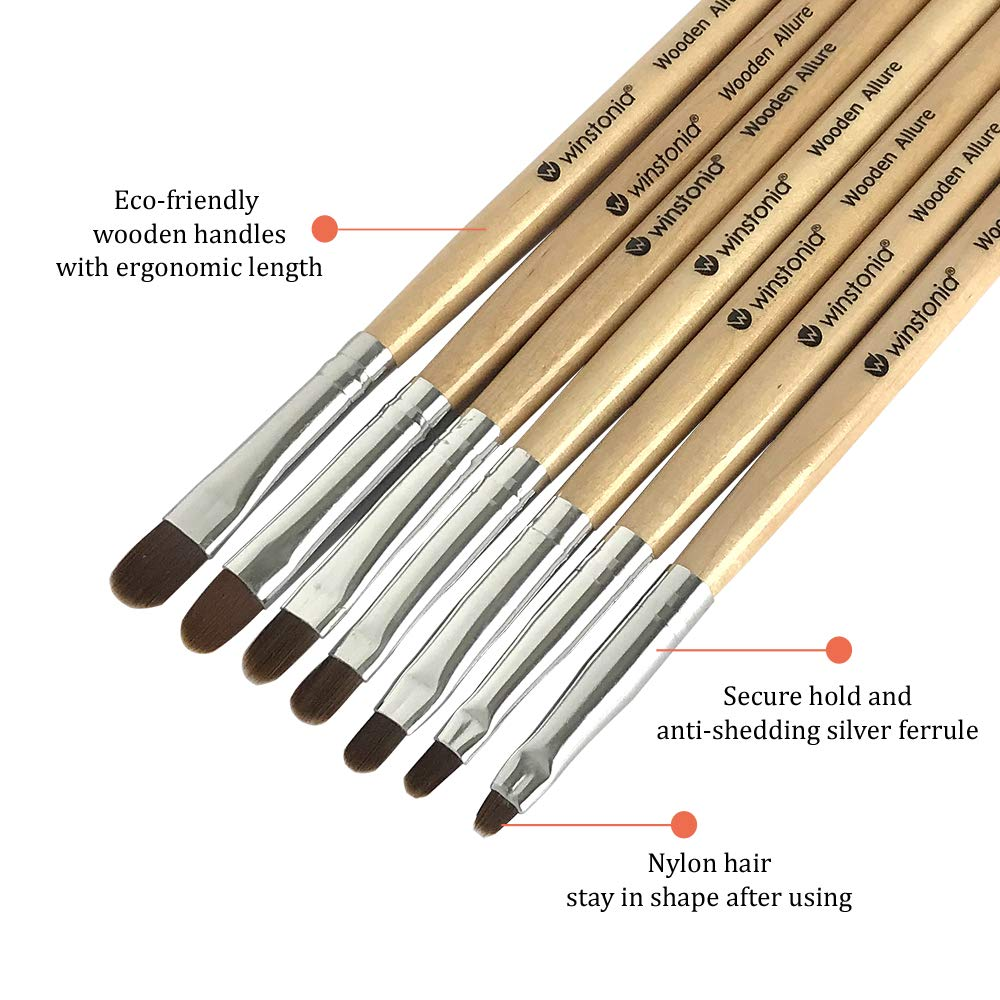 Winstonia 7pcs Gel Nail Brush Set for Nail Tips Builder & Overlay, Sculpting, Poly Gel, and Extensions. Oval Size Brushes Manicure Painting Pen - WOODEN ALLURE : Beauty