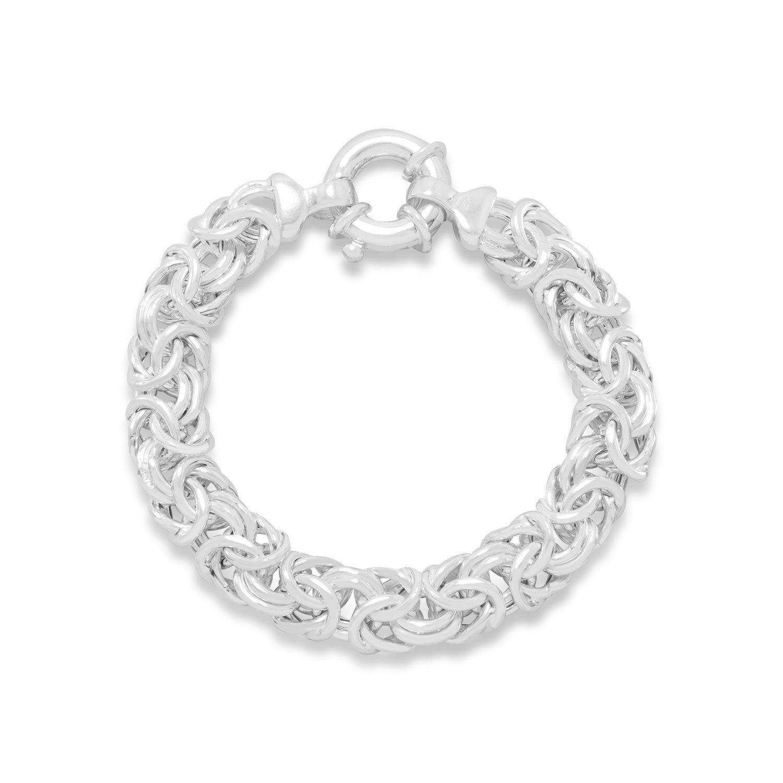 Oval Byzantine Bracelet Sterling Silver 12mm Wide, 7