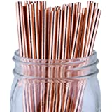 Just Artifacts Decorative Paper Straws 100pcs Solid Color Pattern - Metallic Rose Gold - Click For More Colors! Paper Straws and Décor for Birthdays, Weddings, Baby Showers and Life Celebrations!