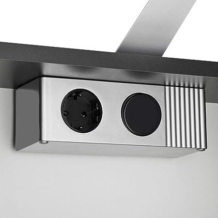 Galdem® Elegance Espejo 70 Cm Armario de baño Armario Pared Armario Muebles de baño (3 Puertas de Espejo 6 baldas LED Iluminación Antracita: Amazon.es: ...