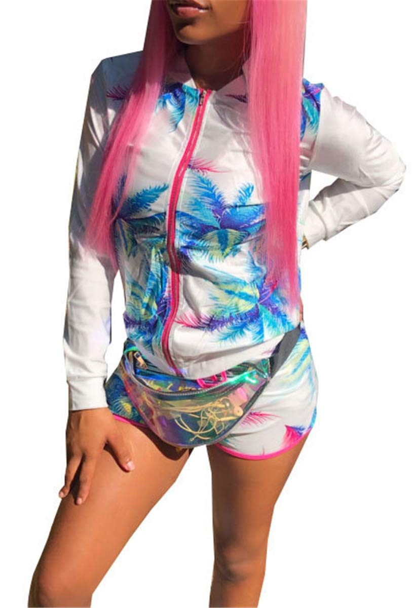 Women's Sexy 2 Pieces Printed Zipper Lightweight Jackets Bodycon Shorts Party Clubwear Tracksuit Outfits Set