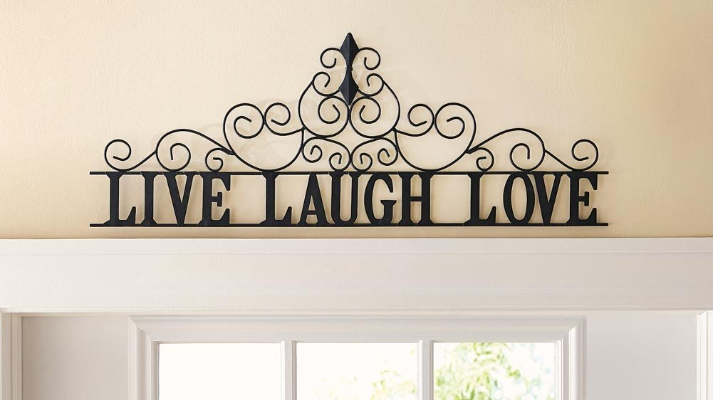 Collections Etc Scrolling Live Laugh Love Metal Wall Art, Standard, Black by Collections Etc