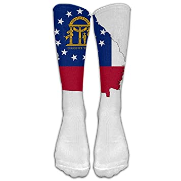 b54386a7f Image Unavailable. Image not available for. Color  Flag and Map of Georgia Custom  Knee High Socks Football ...