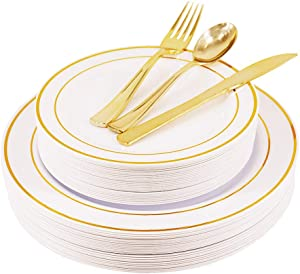 Giveaway: 125PCS Disposable Plastic Plates and Silverware Set - 25...