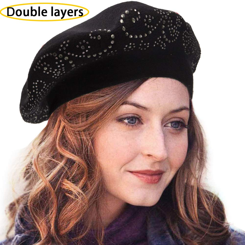 76808508 LADYBRO Knit Berets for Women Rhinestones 2 Layers Wool Beret Hats Winter  Hats Warm Soft product