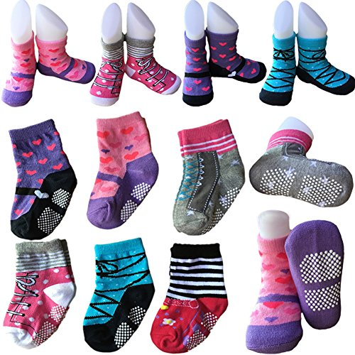 Price comparison product image 6 Pairs Non Skid Baby Girls Toddler Walker Socks Anti Slip Stretch Knit Ankle Cotton Shoe Socks Slippers Sneakers Crew Socks With Grip for 12-24 Months