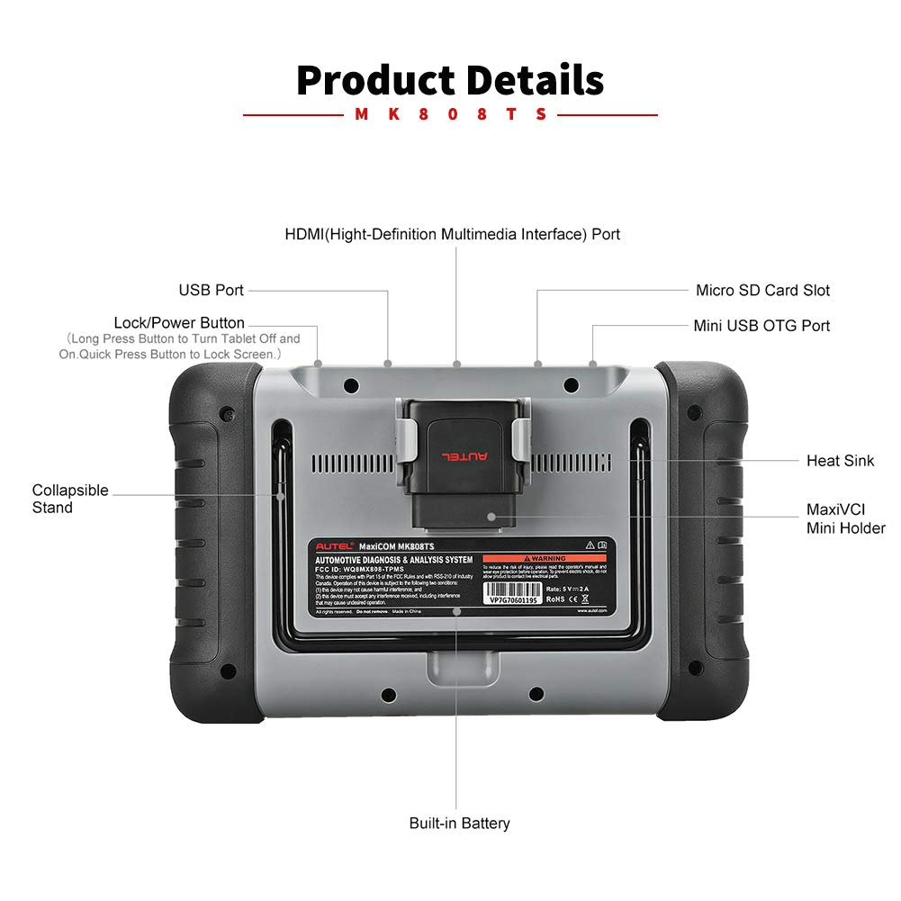 Autel MaxiCOM MK808TS Enhanced Diagnostic Scan Tool of MK808BT and MK808 with Complete TPMS Functions, Full Systems Diagnoses and Reset Services including EPB, BMS, SAS, DPF, Oil Reset IMMO Service et by Autel (Image #6)
