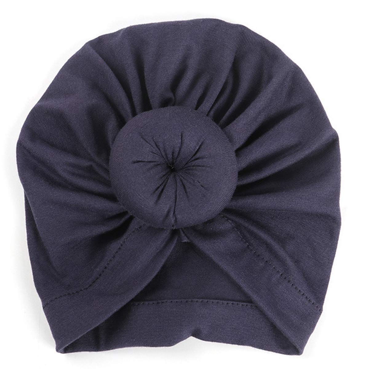 Leyeet Infant Toddler Baby Cap Cotton Tie Knot India Hat Indian Style Beanie Cap Winter Warm Headwear Turban Accessories Color : Navy Blue