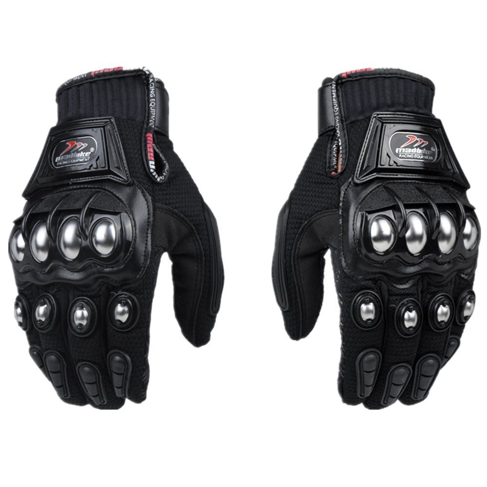 oubaiya Steel Outdoor Reinforced Brass Knuckle Motorcycle Motorbike Powersports Racing Textile Safety Gloves (Black, XX-Large)