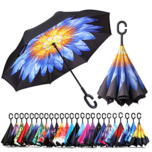 Owen Kyne Windproof Double Layer Folding Inverted Umbrella, Self Stand Upside-Down Rain Protection Car Reverse Umbrellas with C-Shaped Handle (Purple Peony Flower) ()