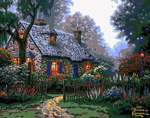 Plaid Creates Paint by Number Kit (11 by 14-Inch), 22066 Foxglove Cottage with Lights by Thomas Kinkade
