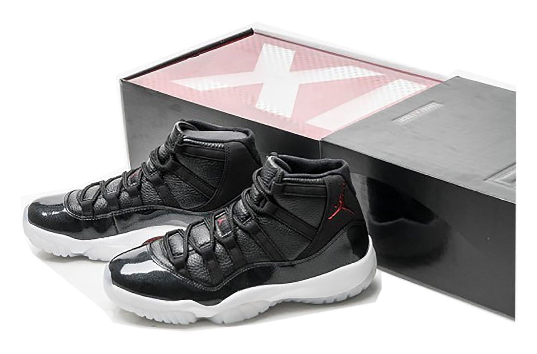 8d990b98fa2 Air Jordan 11 Retro 72-10 Chicago Bulls Leather Black Gym Red Basketball  Shoes