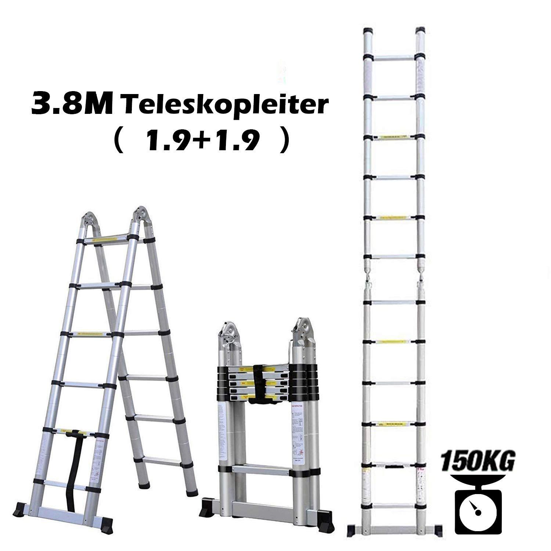 5M Teleskopleiter Auszeihleiter Aluleiter Klappleiter Mehrzweckleiter Teleskop Design bis 150 Kg Belastbar 2 in1, 2,5M+2,5M