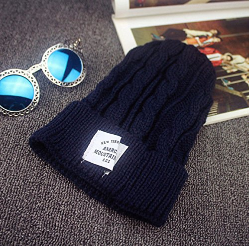 Hemp Wool Hat - New Fashion Autumn and Winter Hemp Flowers Patch Warm Outdoor Bonnet Femme Lady Knitted Hats for Women Skullies Beanies 5 Color to Choose (Dark Blue)
