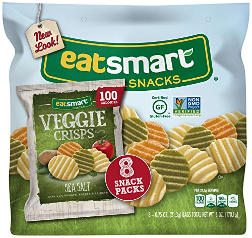 Eatsmart Snacks Veggie Crisps, 100 Calorie Multipack, Sea Salt, 8 Count 100 Calorie Snack Pack