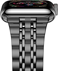 iiteeology Compatible with Apple Watch Band SE/Series 6/5/4 44mm Series 3/2/1 42mm, Upgraded Version Stainless Steel Link Bracelet iWatch Band for Men (7-Rows Space Gray)