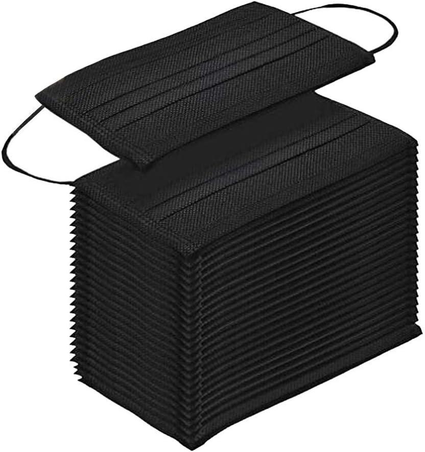 MMMYANG 50 Piezas Negro Adulto Seguro Suave Transpirable Protección personal diaria, Protección Transpirables, 3 Capas Transpirables A Prueba de Polvo con Elástico para Los Oídos 814