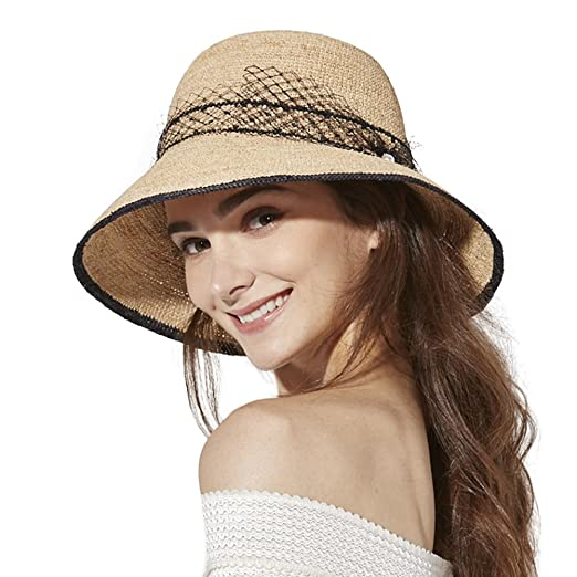 90a048dbb4029 Image Unavailable. Image not available for. Color  Raffia Straw Sun Hat for Women  Fedora Summer Beach Accessories Wide ...