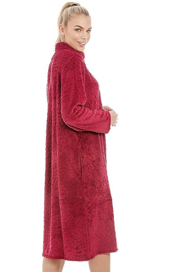 Bata de Estar por casa para Mujer con Cremallera Forro Polar Supersuave - Rojo: Amazon.es: Ropa y accesorios