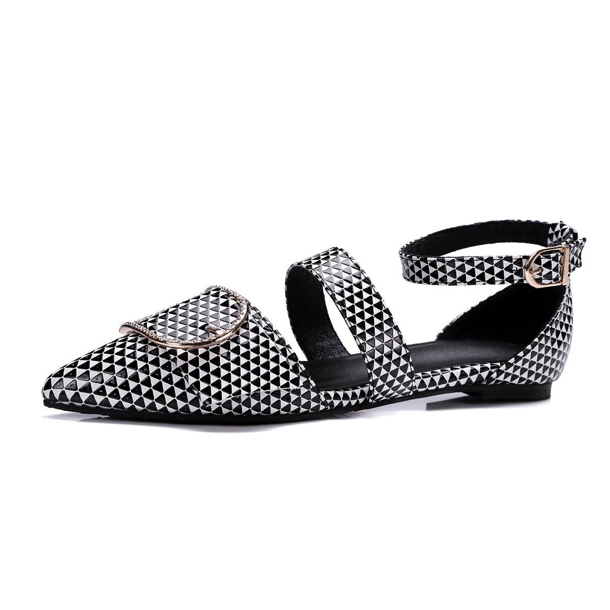 QIN&X Damen Weiß Casual Flachbild Heel Sandalen schwarz Weiß Damen 56f043