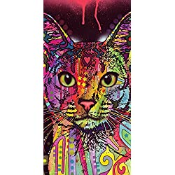 Dean Russo Cat Whiskers Modern Animal Decorative Art Poster Print, Unframed 12 by 24