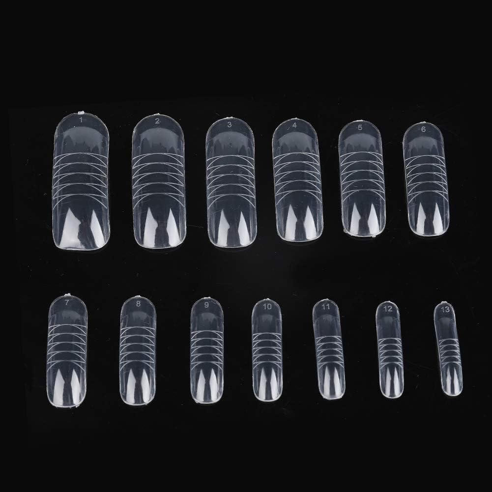 140 Pcs Kit de Uñas postizas dual Extensión de la forma Falsas puntas de uñas Nail Art Tips UV Gel DIY 12 tamaños con líneas