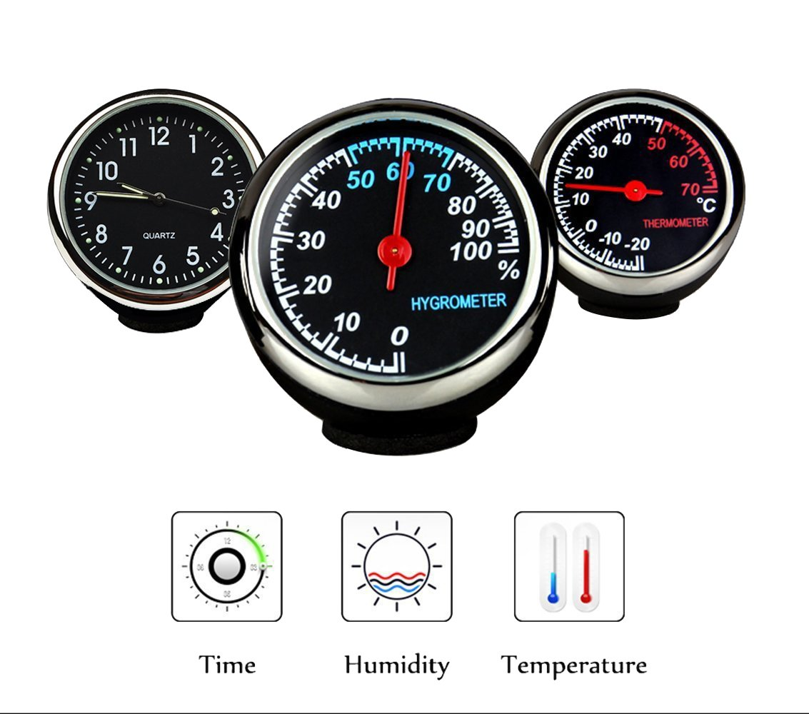 Fristee Uhr, Thermometer und Hygrometer fü r das Auto-Armaturenbrett