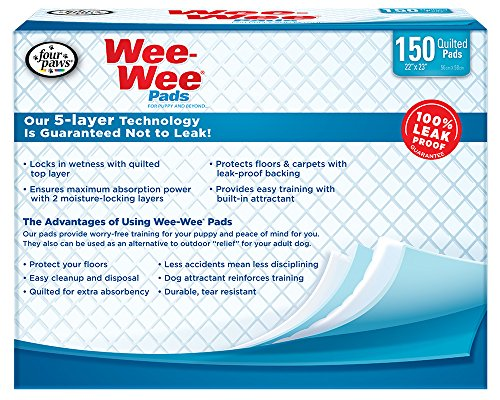 Four-Paws-Wee-Wee-Pet-Training-and-Puppy-Pads-150-Count-22-x-23-Pad