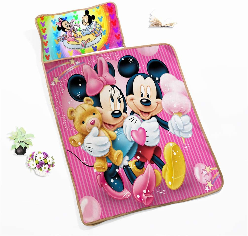 guarder/ía infantil saco de dormir para ni/ños almohadilla para siesta infantil de preescolar con almohada extra/íble 105 x 125 cm Alfombrilla para siesta con manta DFTY Disney Mickey Kids