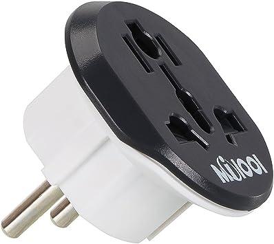 Viaje Conector milool Schuko E/F 2 en 1 para conectar dispositivos ausländischer (como UK, USA, China, Italia, Suiza) a Deutsche Protección de contacto de enchufes (también para España, Francia.): Amazon.es: Electrónica